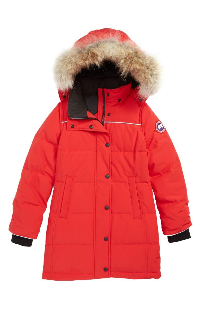 CANADA GOOSE Juniper Down Parka with Genuine Coyote Fur Trim, Main, color, RED