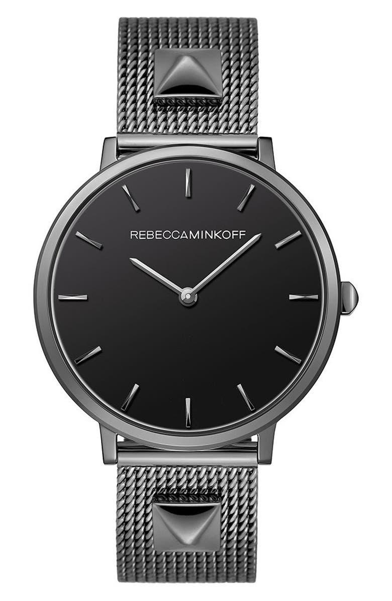 REBECCA MINKOFF Major Mesh Strap Watch, 35mm, Main, color, 001