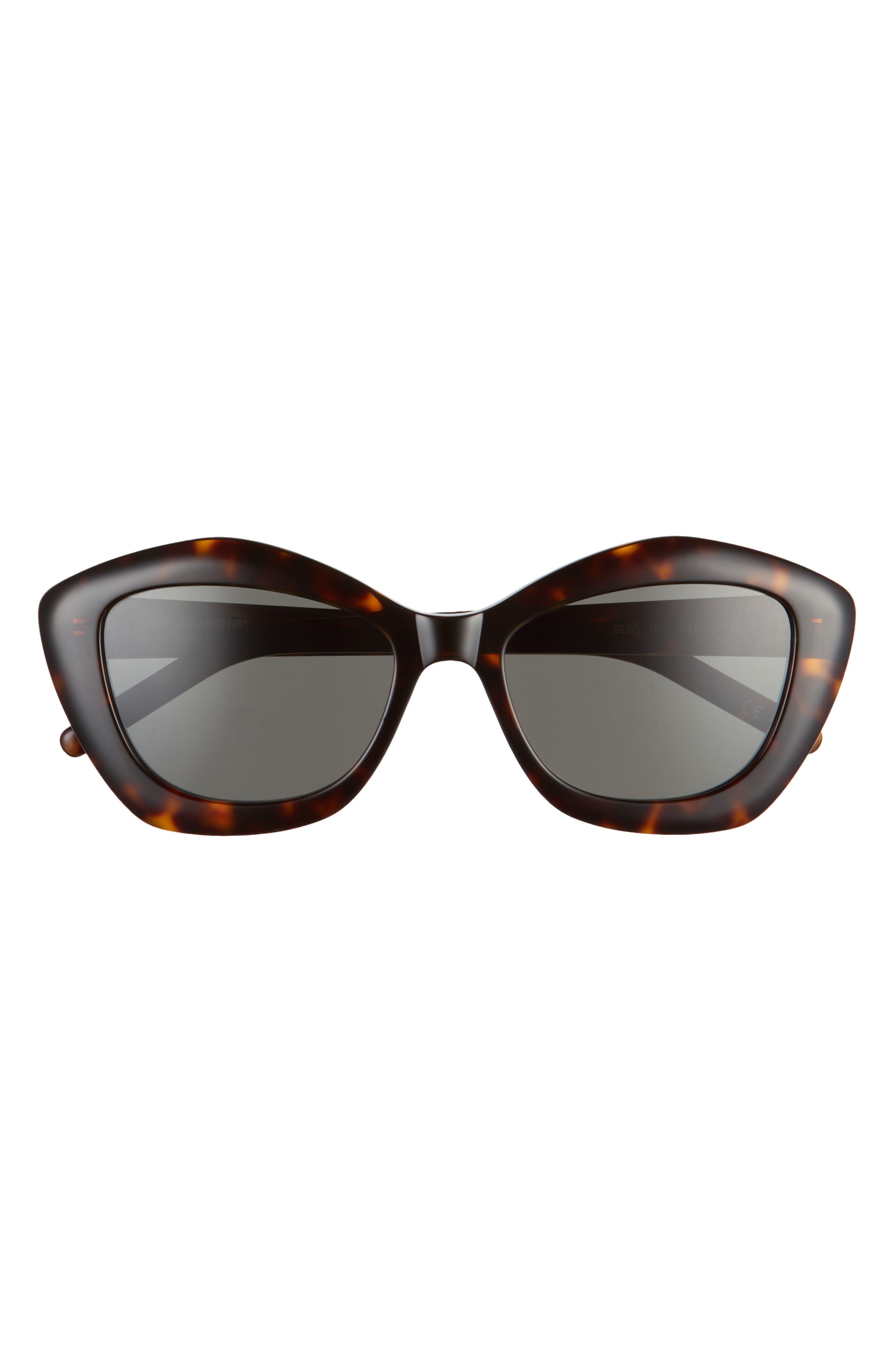 Women's Saint Laurent 54mm Cat Eye Sunglasses - Havana/ Grey