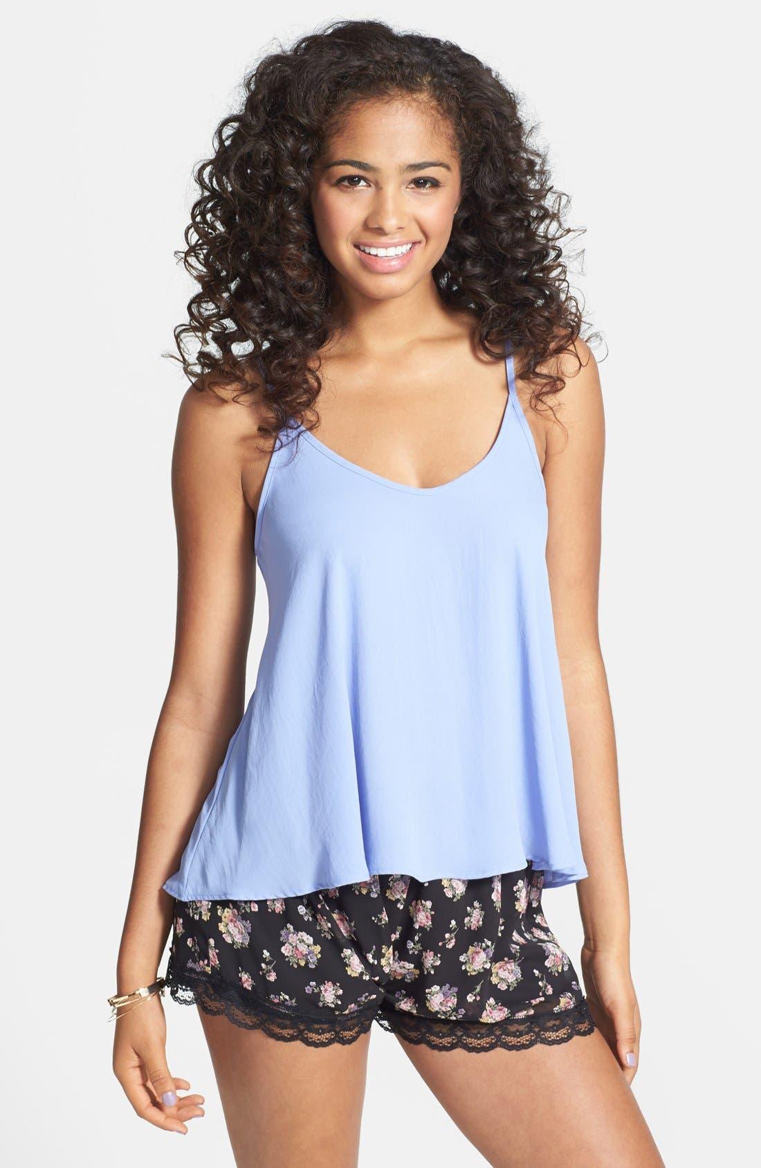 ,                             Lace Trim Floral Print Shorts,                             Main thumbnail 1, color,                             001