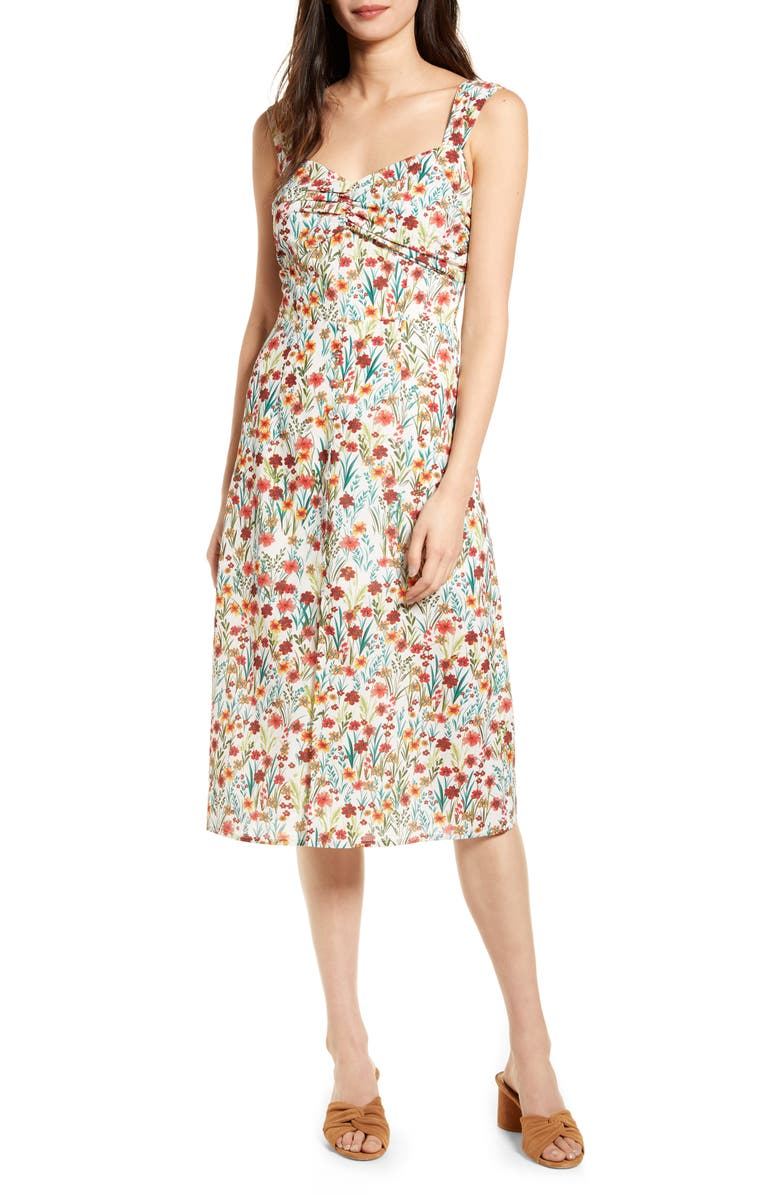 LOST + WANDER Renee Floral Print Sundress, Main, color, WHITE FLORAL