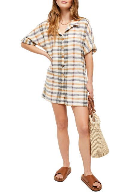 Image of Free People Felicity Plaid Cuffed Sleeve Romper