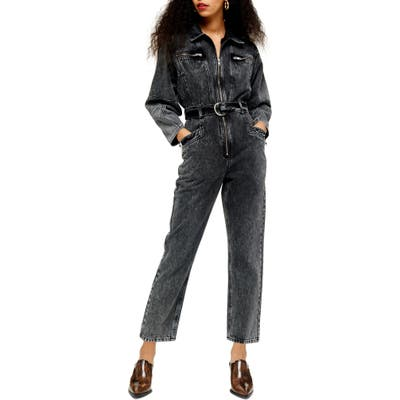 Petite Topshop Tibet Acid Boil Denim Jumpsuit, P US (fits like 2-4P) - Black