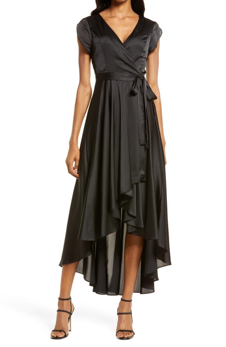 LULUS Fallen For You Satin High/Low Dress, Main, color, BLACK