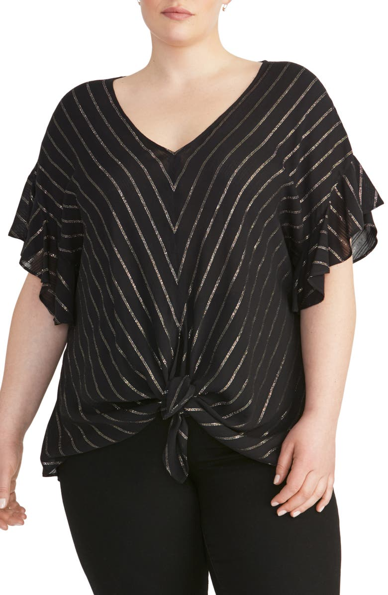 RACHEL RACHEL ROY Zinnia Tie Front Top, Main, color, BLACK