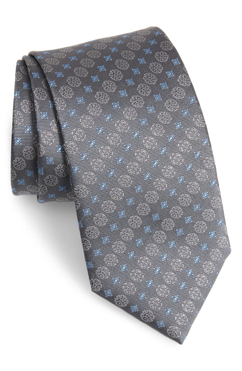 DAVID DONAHUE Geometric Silk Tie, Main, color, CHARCOAL
