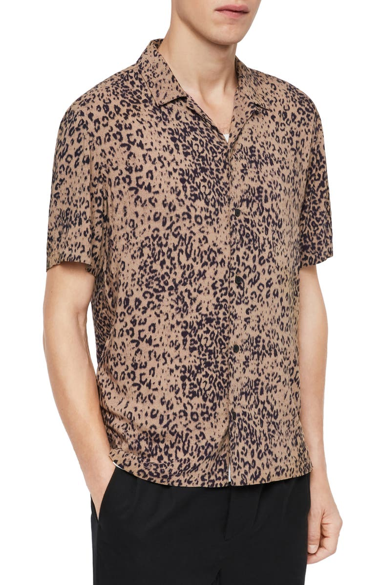 ALLSAINTS Patch Short Sleeve Button-Up Camp Shirt, Main, color, 200