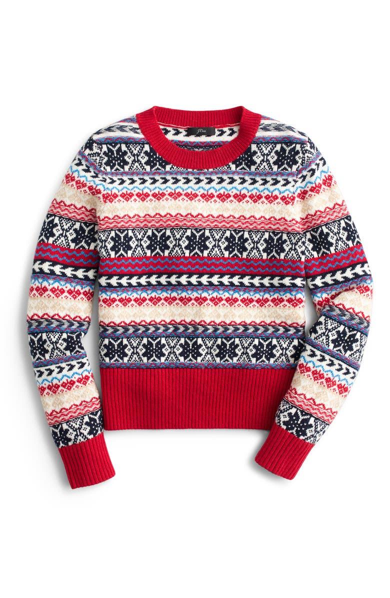 J.CREW Button Fair Isle Crewneck Sweater, Main, color, 600