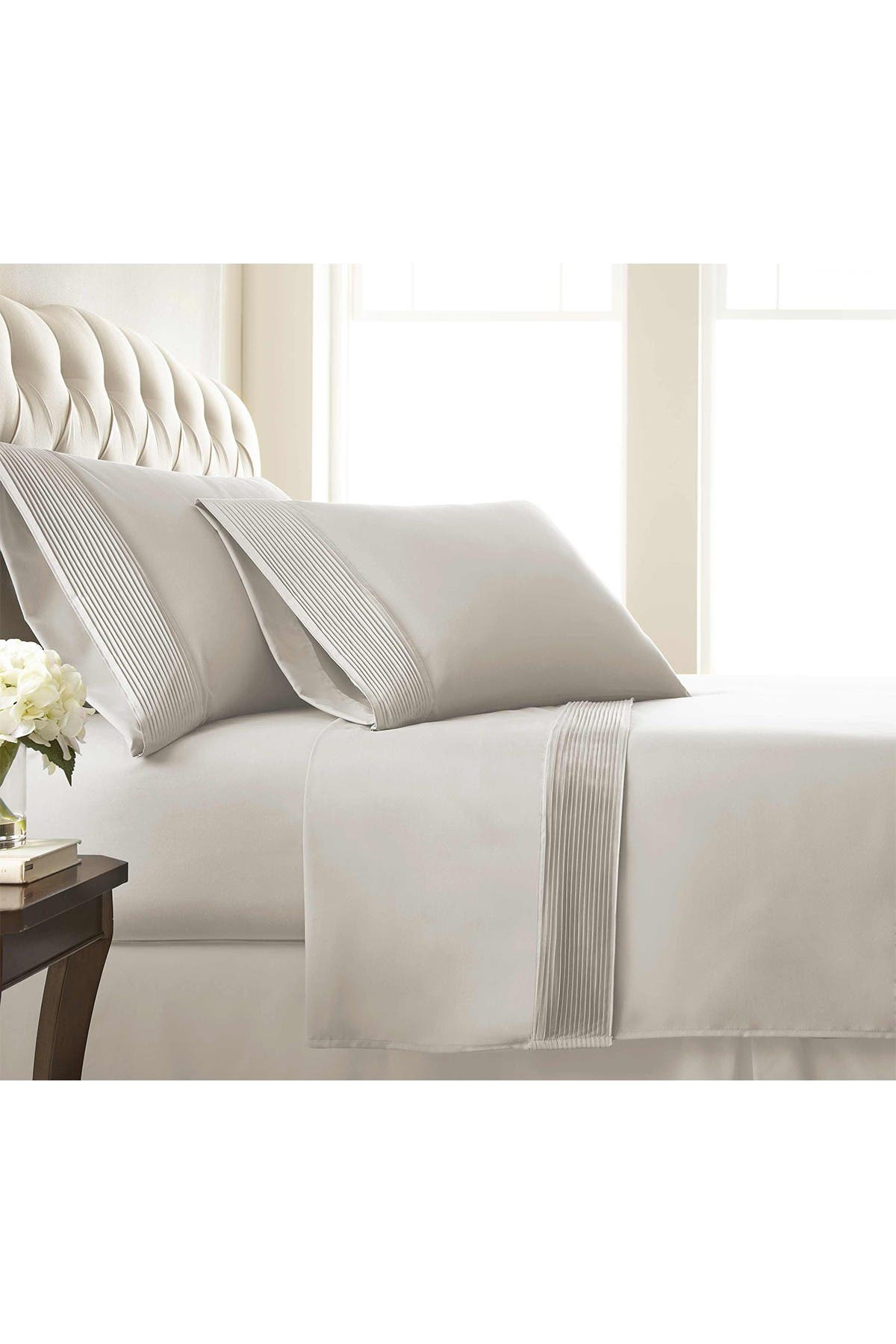 Image of SOUTHSHORE FINE LINENS King Sized Premium Collection Double Brushed Extra Deep Pocket Pleated Sheet Set - Bone
