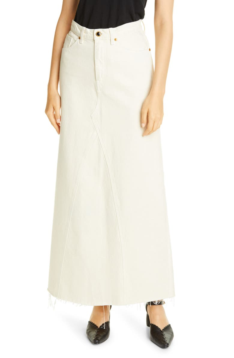 KHAITE Magdalena Reconstructed Denim Maxi Skirt, Main, color, IVORY RIGID