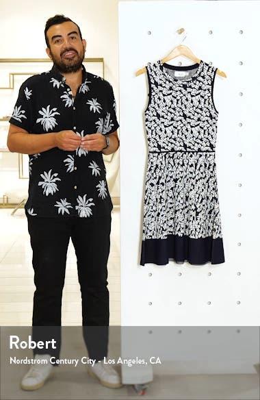 Print Fit & Flare Sweater Dress, sales video thumbnail