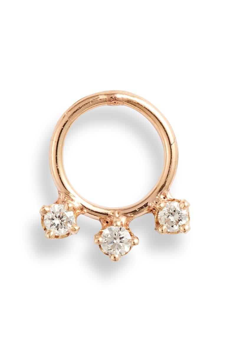 ZOË CHICCO Single Diamond Frontal Earring, Main, color, YELLOW GOLD/ DIAMOND