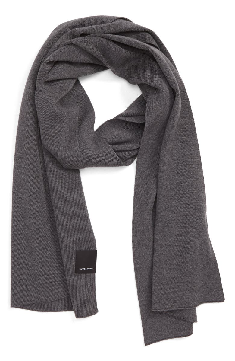 CANADA GOOSE Classic Wool Scarf, Main, color, IRON GREY