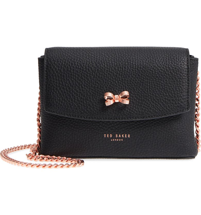 TED BAKER LONDON Bow Leather Crossbody Bag, Main, color, 001