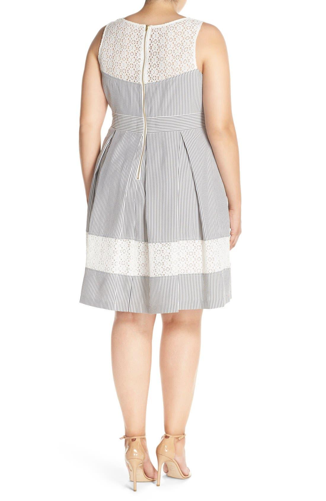 ,                             Lace & Seersucker Fit & Flare Dress,                             Alternate thumbnail 2, color,                             020