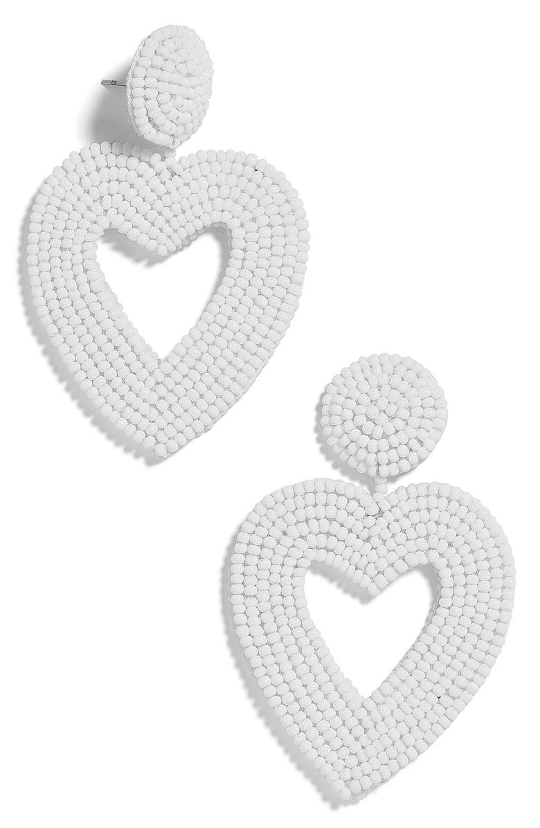 BAUBLEBAR Vionnet Beaded Heart Drop Earrings, Main, color, WHITE