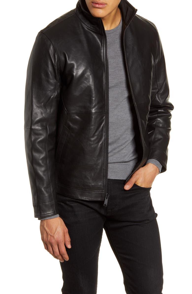 NORDSTROM MEN'S SHOP Leather Jacket, Main, color, BLACK