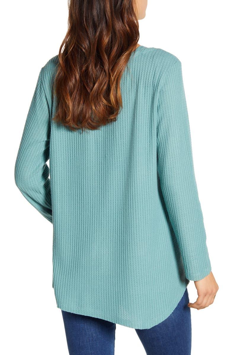 WIT & WISDOM Shoulder Slit Thermal Knit Top, Alternate, color, JADE STONE