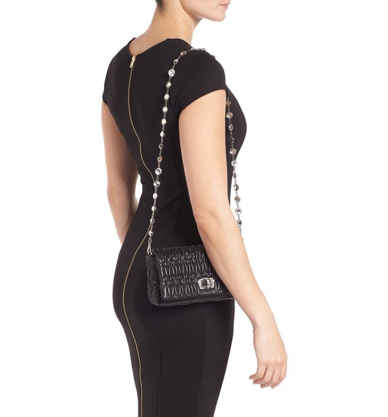 MIU MIU Small Crystal Embellished Nappa Shoulder Bag, Main, color, NERO