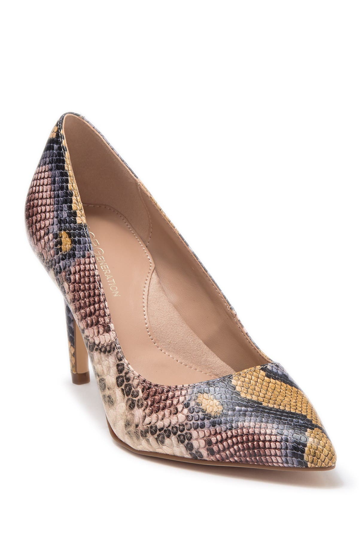 Image of BCBG Middea Snakeskin Embossed Pointed Toe Pump