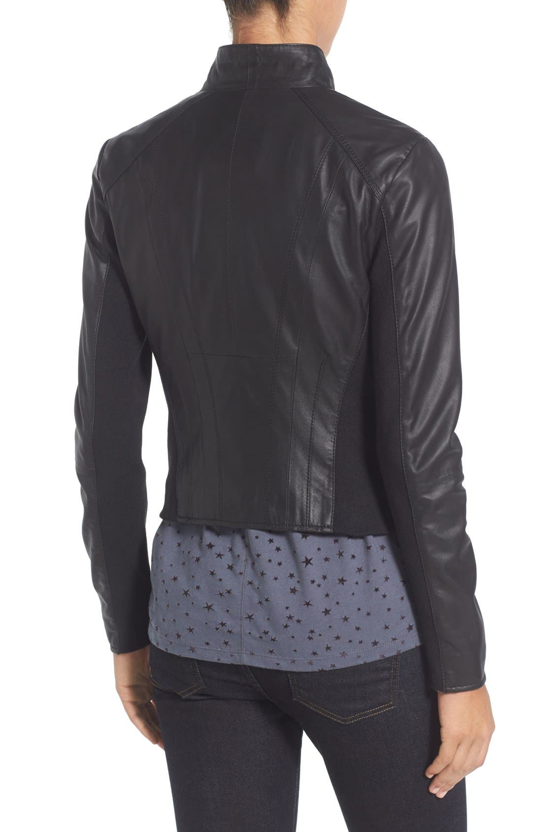 ,                             Marc New York by Andrew Marc Felix Stand Collar Leather Jacket,                             Alternate thumbnail 10, color,                             BLACK