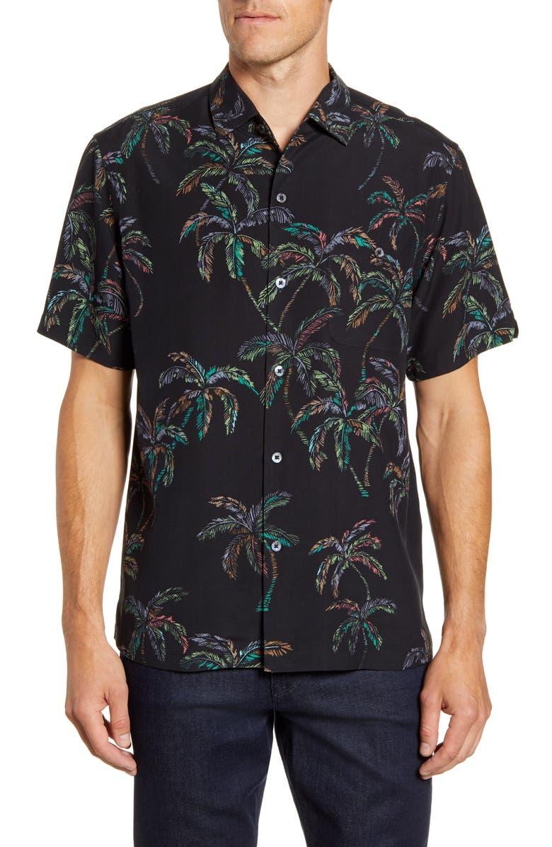 TORI RICHARD Sunday Palm Short Sleeve Silk Blend Button-Up Shirt, Main, color, BLACK