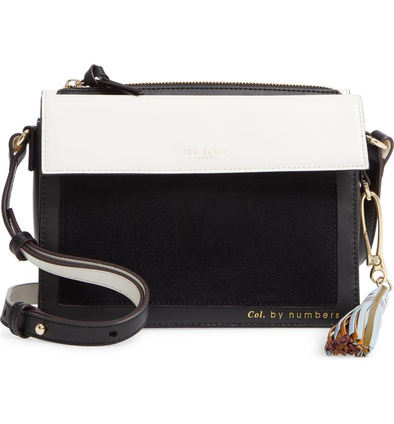 TED BAKER LONDON Colour by Numbers Glacial Leather Crossbody Bag, Main, color, 001