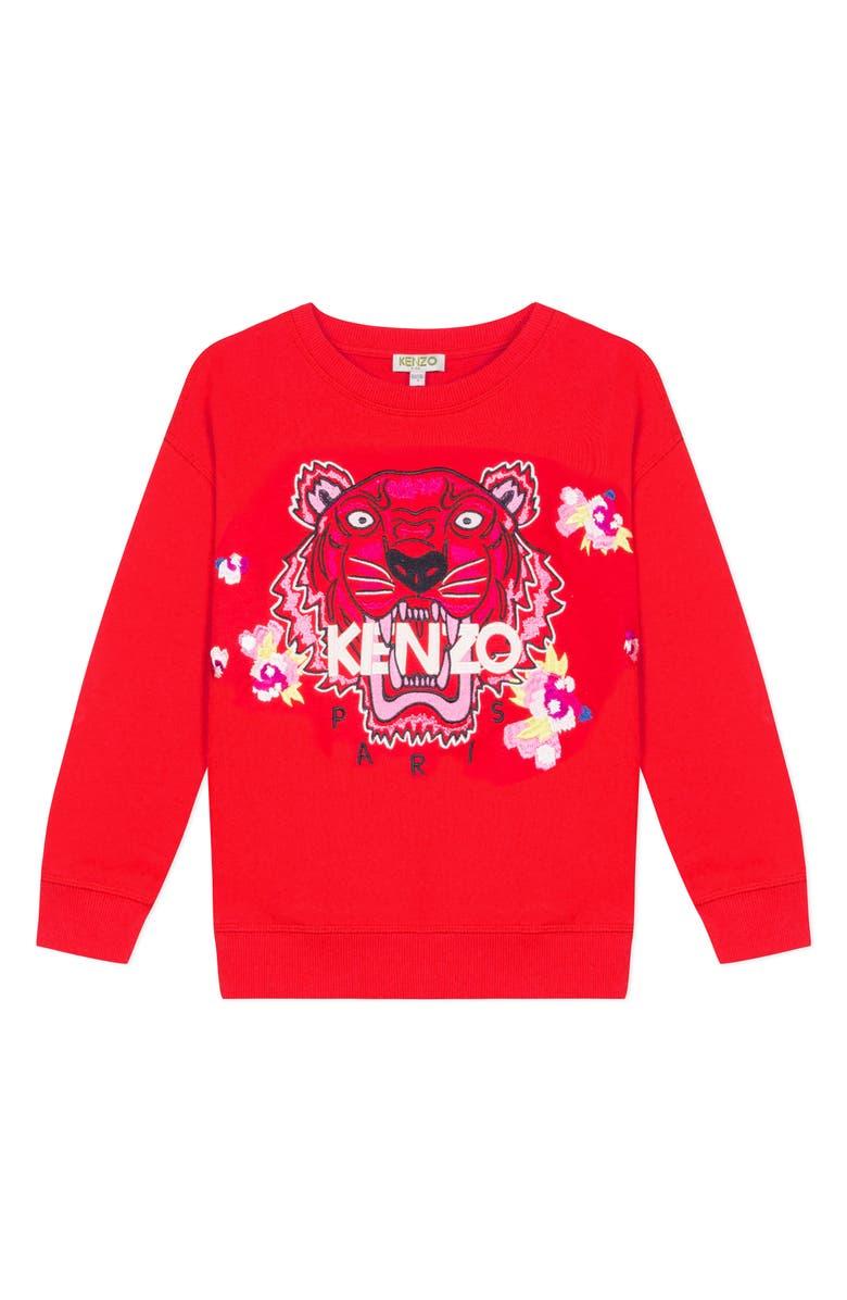 KENZO Embroidered Tiger & Flower Sweatshirt, Main, color, BRICK