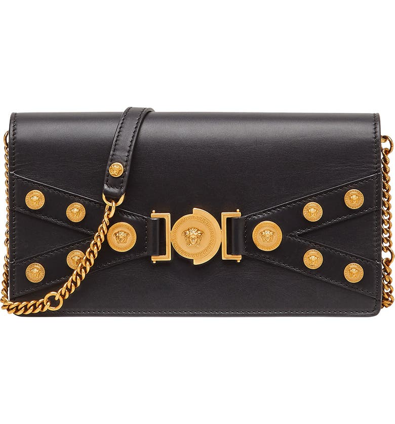 VERSACE Tribute Leather Shoulder Bag, Main, color, BLACK/ TRIBUTE GOLD