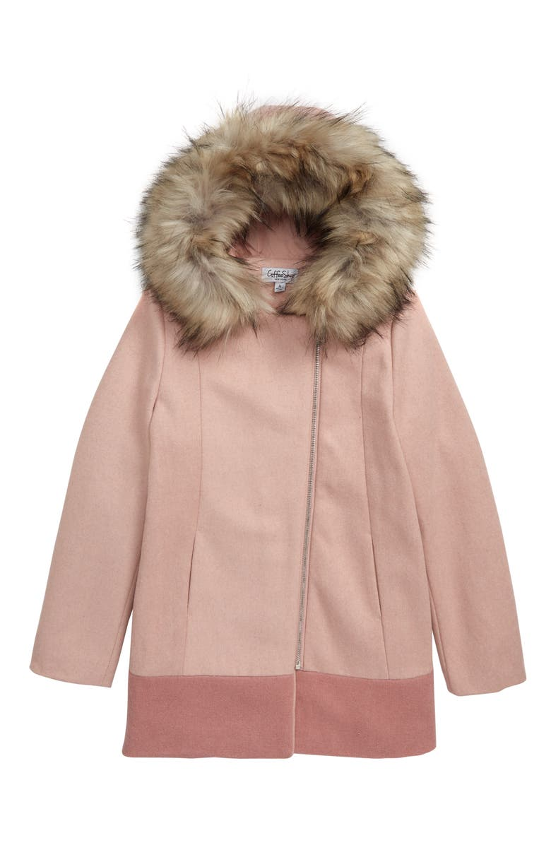 COFFEE SHOP Colorblock Hooded Coat with Faux Fur Trim, Main, color, BLUSH LOVE