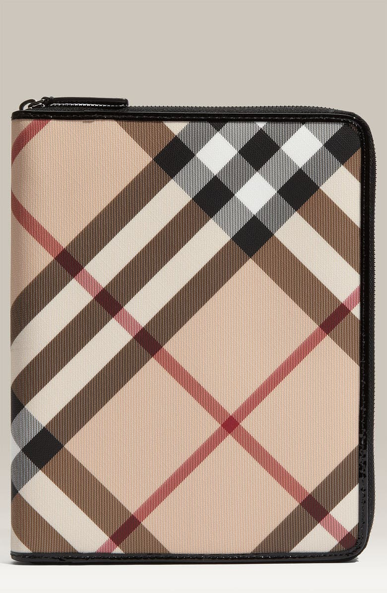 BURBERRY 'Nova Check' Zip Around iPad Case, Main, color, 001