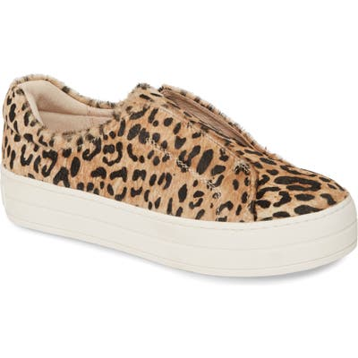 Jslides Heidi Platform Genuine Calf Hair Slip-On Sneaker- Beige