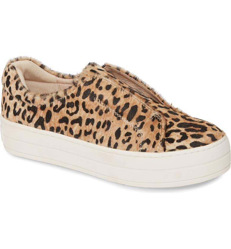 JSLIDES Heidi Platform Genuine Calf Hair Slip-On Sneaker, Main, color, BEIGE/ BLACK LEOPARD CALF HAIR