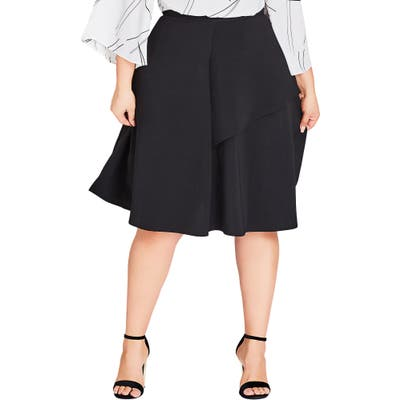 Plus Size City Chic Rimple Flared Skirt, Black