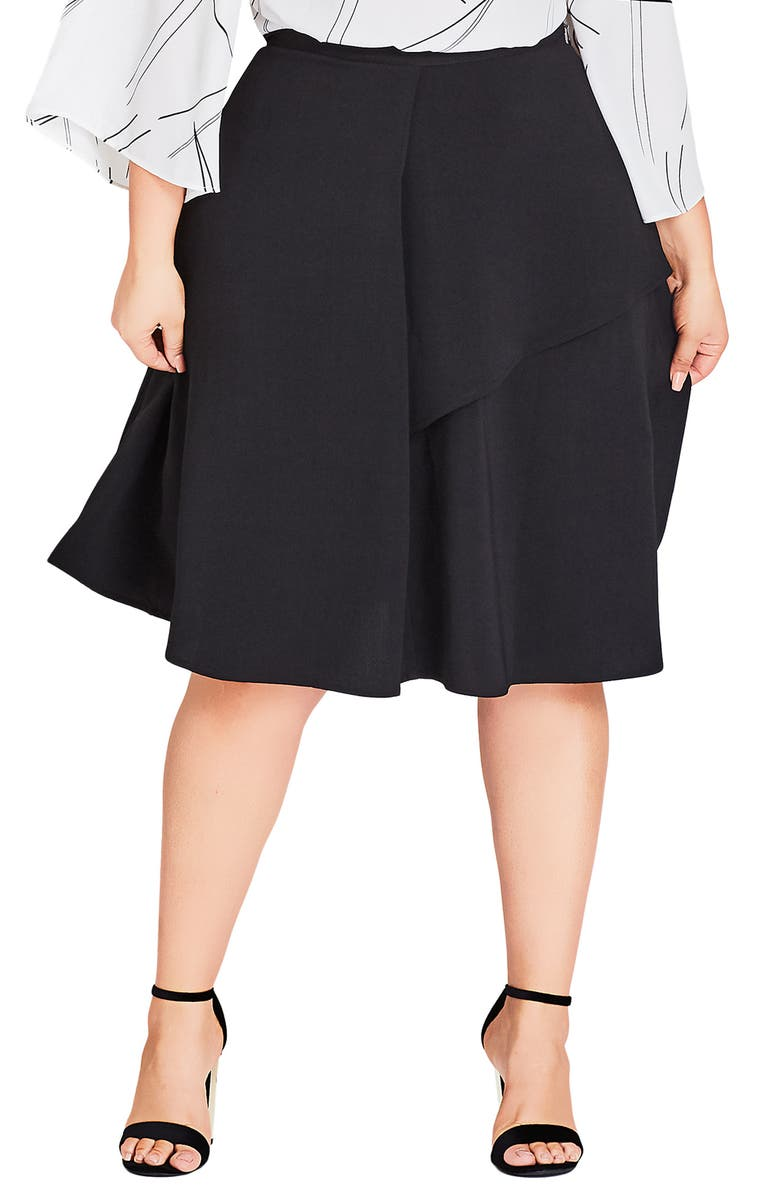 CITY CHIC Rimple Flared Skirt, Main, color, 001