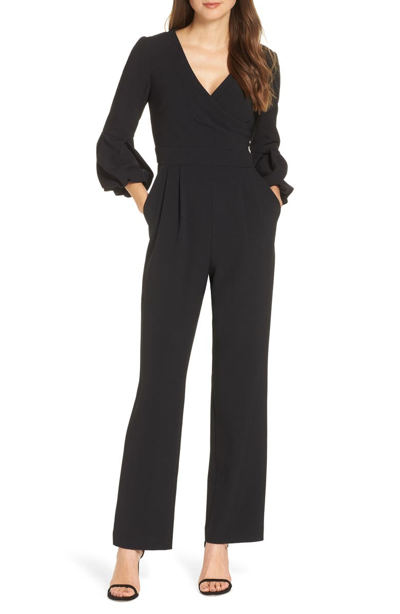 VINCE CAMUTO Balloon Cuff Jumpsuit, Main, color, BLACK