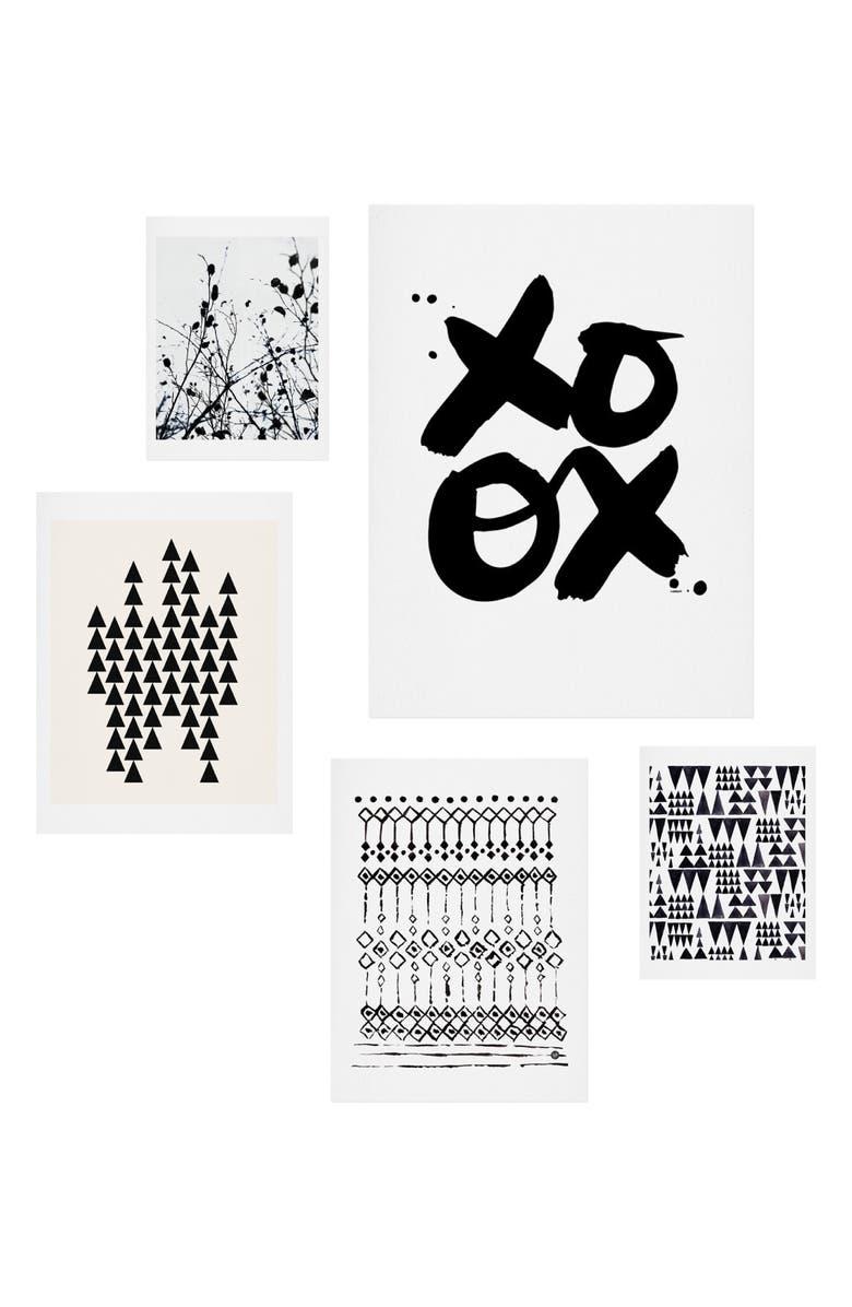 DENY DESIGNS Copenhagen 5-Piece Wall Art Print Set, Main, color, BLACK