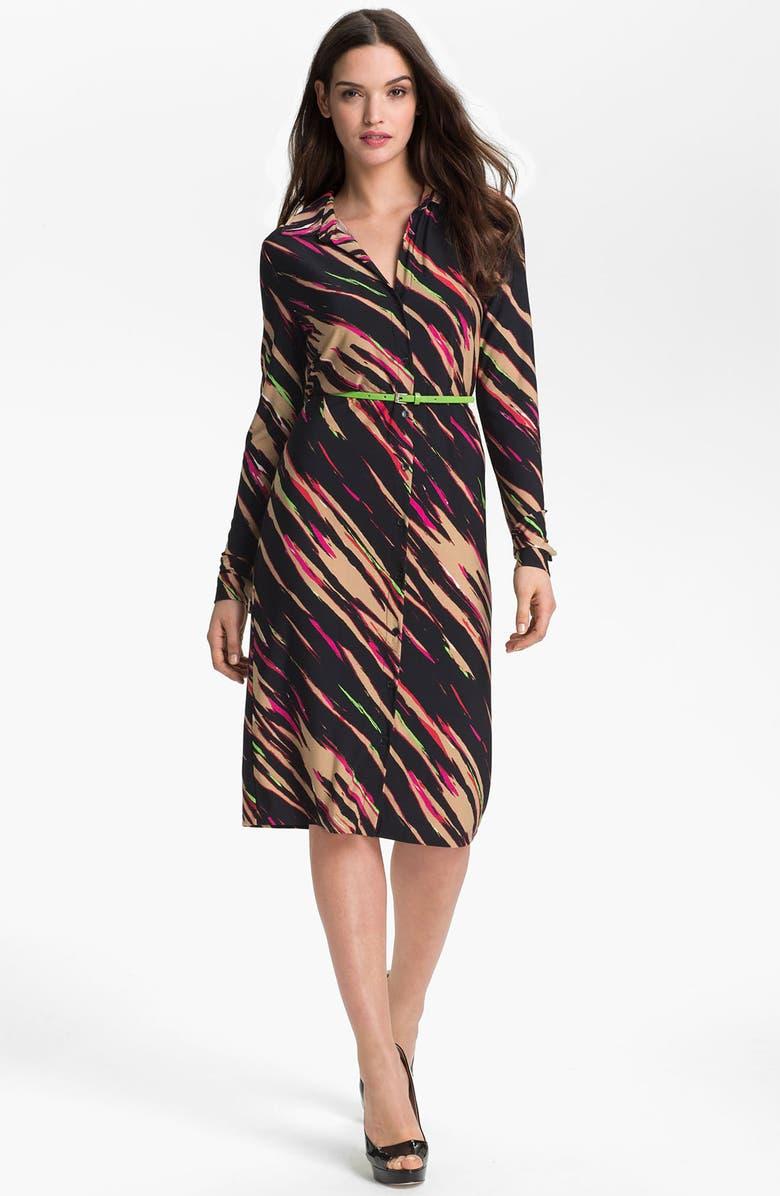 ANNE KLEIN 'Leo - Bias Streak' Shirtdress, Main, color, 650