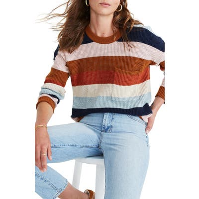 Plus Size Madewell Thompson Rainbow Stripe Pocket Pullover Sweater, Brown