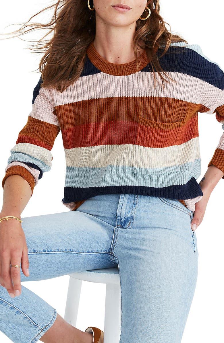 MADEWELL Thompson Rainbow Stripe Pocket Pullover Sweater, Main, color, HEATHER FAWN MULTI STRIPE
