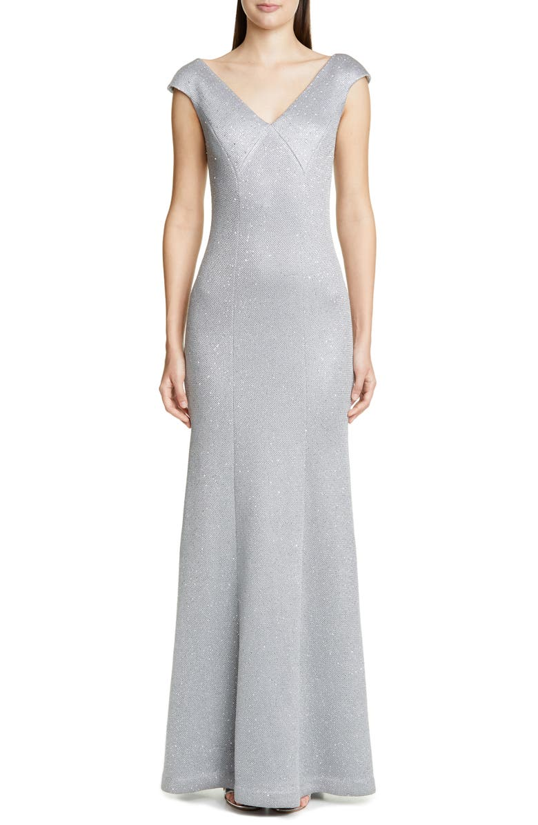 ST. JOHN COLLECTION Sequin Bird's Eye Knit Gown, Main, color, SILVER