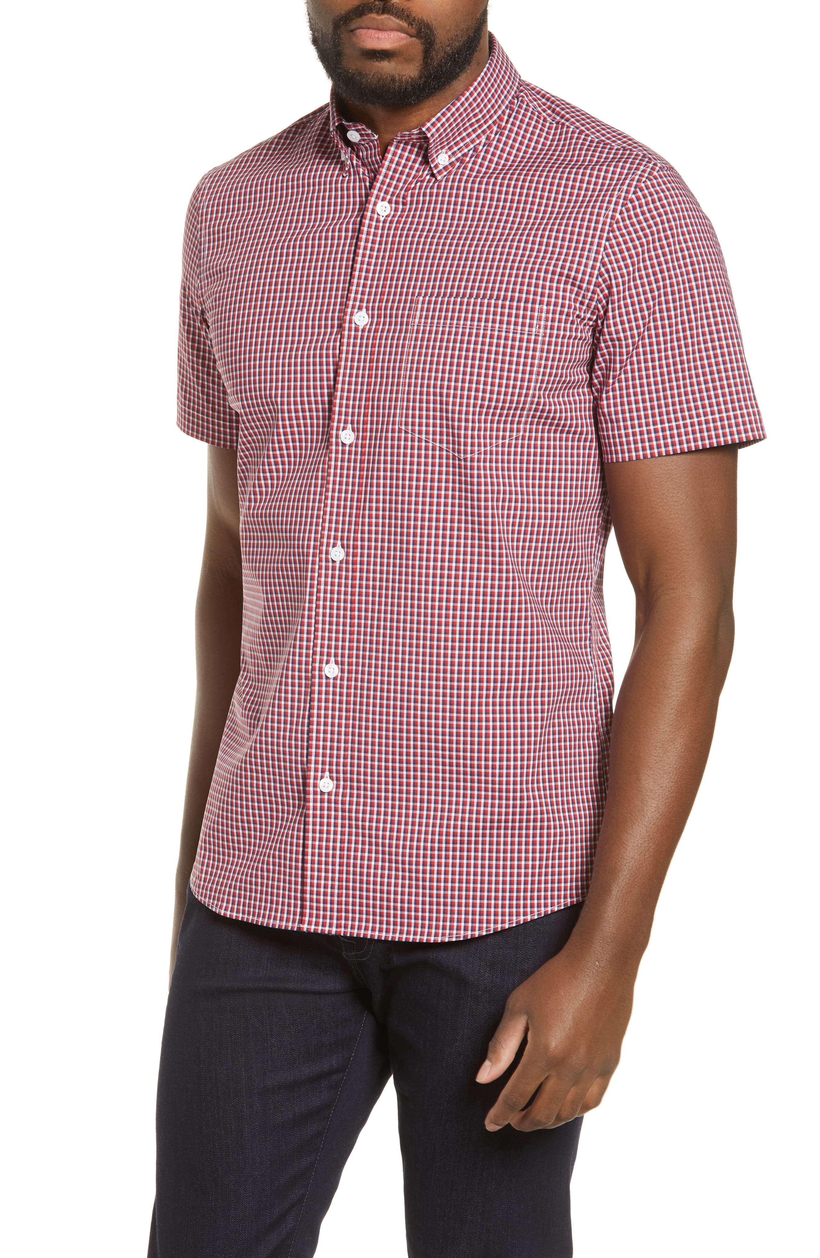 ,                             Tech-Smart Regular Fit Check Sport Shirt,                             Main thumbnail 1, color,                             RED POMPEII NAVY CHECK
