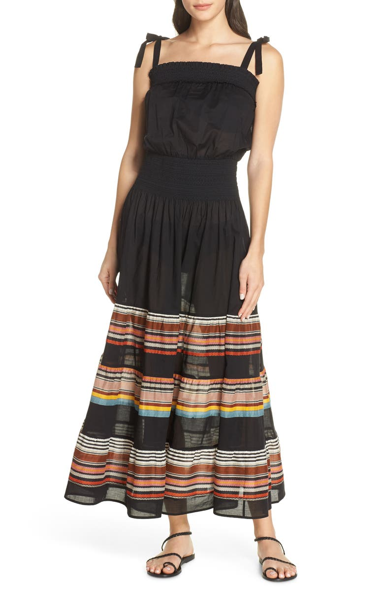 TORY BURCH Smocked Cover-Up Maxi Dress, Main, color, 018