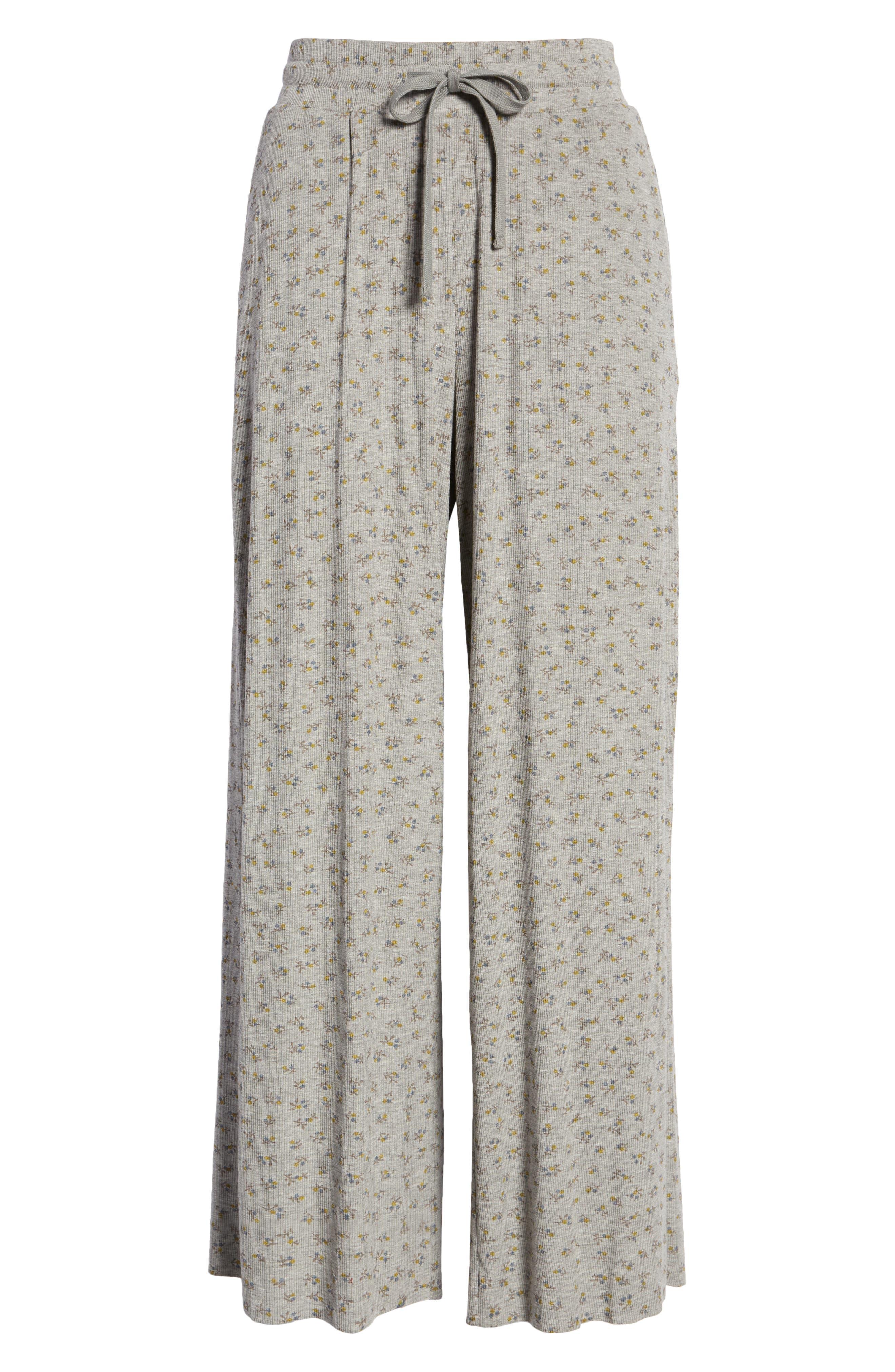 Pierson Floral Print Rib Knit Ankle Pants