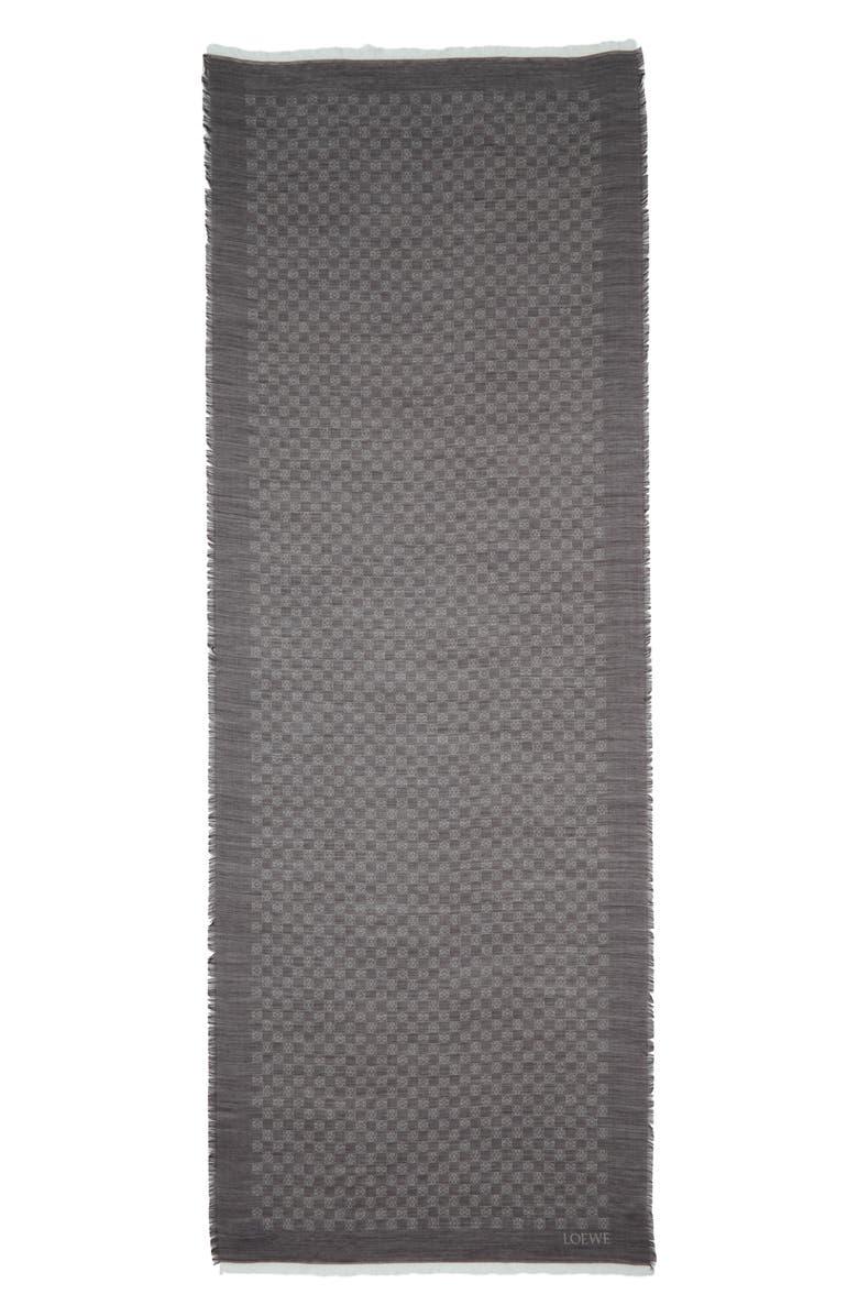 LOEWE Monogram Wool & Silk Scarf, Main, color, BLACK
