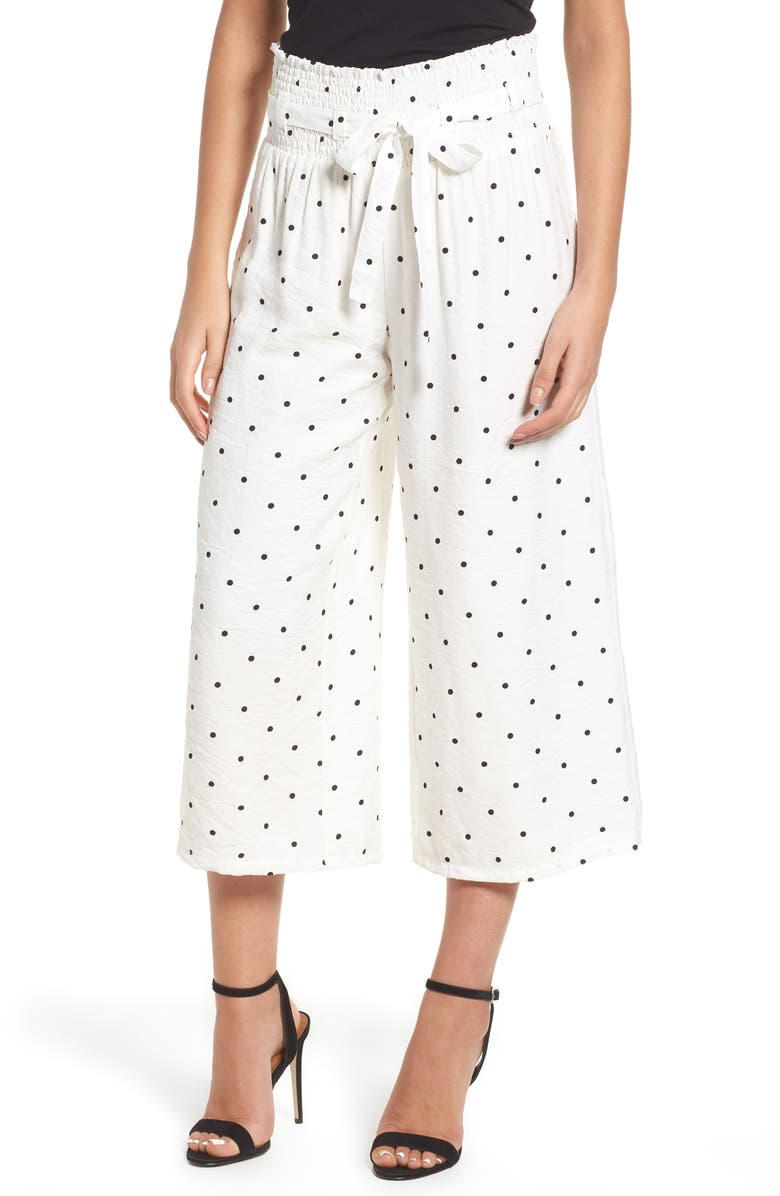 LOST INK Polka Dot Crop Trousers, Main, color, 100