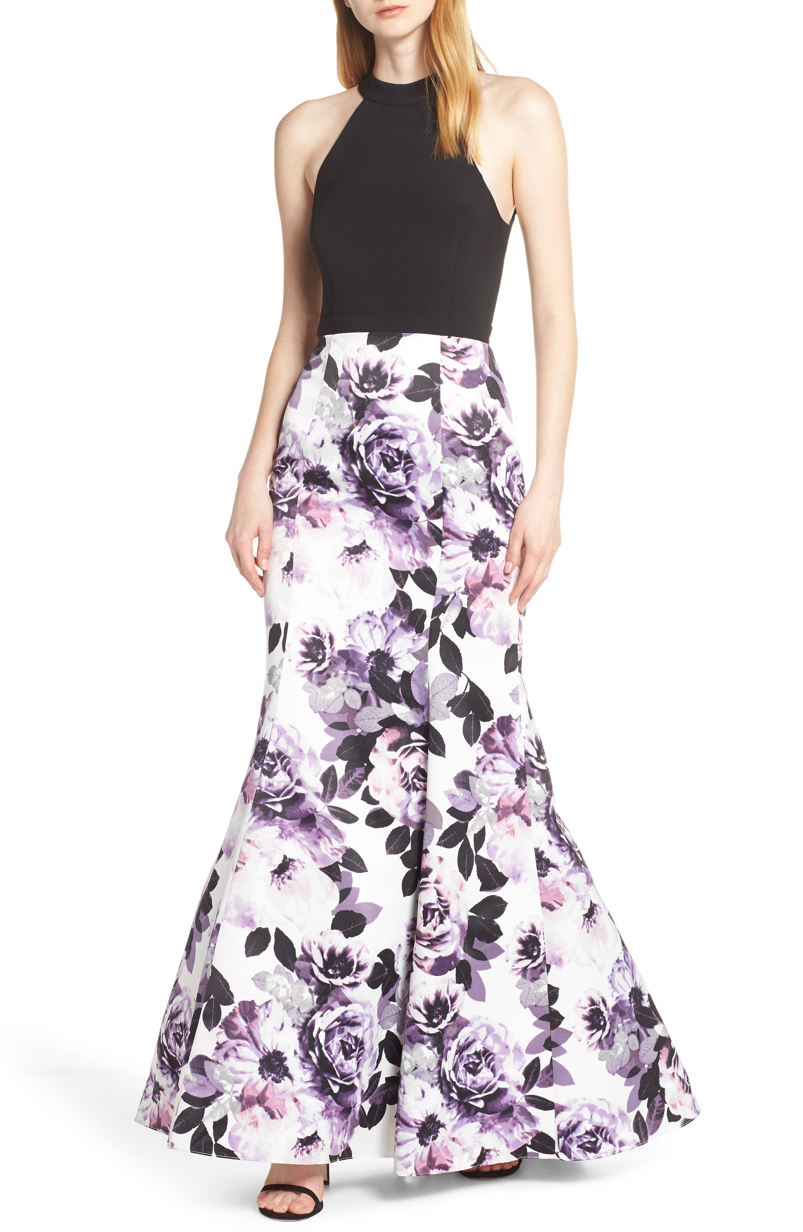 Blondie Nites Floral Print Lattice Back Evening Dress, Black