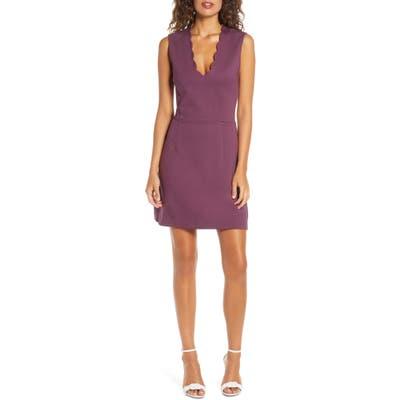 French Connection Lula Sundae Scalloped Sheath Dress, Purple
