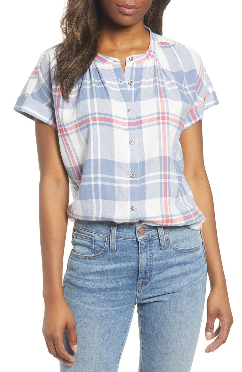 CASLON<SUP>®</SUP> Woven Linen Blend Camp Shirt, Main, color, PINK WINDOWPANE PLAID
