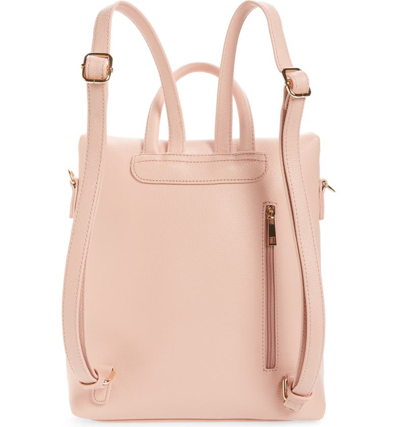 BP. Square Faux Leather Backpack, Alternate, color, PINK DAWN
